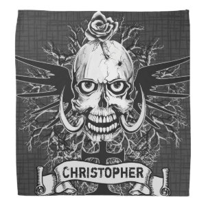 Skull With Rose, Horns, Cross, Wings Personalize Bandana
