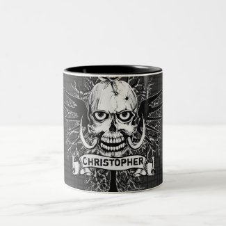 Skull With Rose, Horns, Cross, Wings Personalize Mug