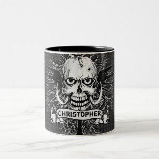 Skull With Rose, Horns, Cross, Wings Personalize Mug