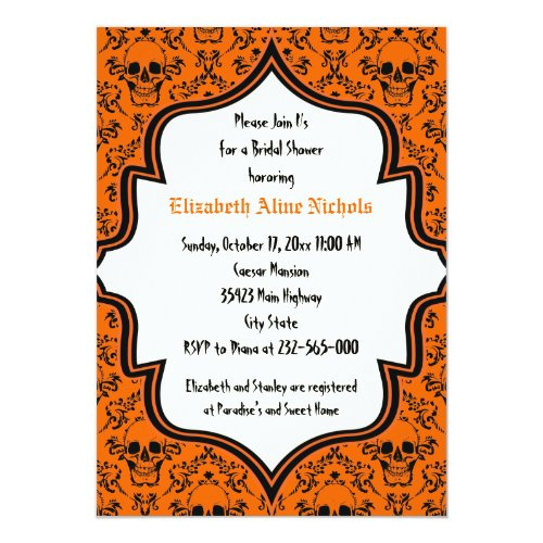 Skulls damask Halloween wedding bridal shower Invitation