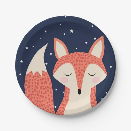 Sleeping fox woodland birthday theme children gift paper plate