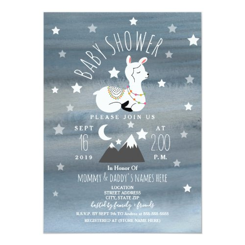 Sleeping Llama Baby Mountains Stars Baby Shower Invitation