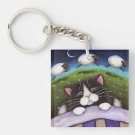 Sleepy Tuxedo Cat with Mice & Sheep | Fantasy Double-Sided Square Acrylic Keychain