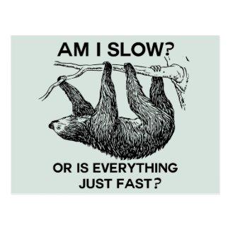 Sloth am I slow? Blue Postcard