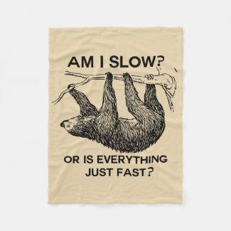 Sloth am I slow? Brown Fleece Blanket