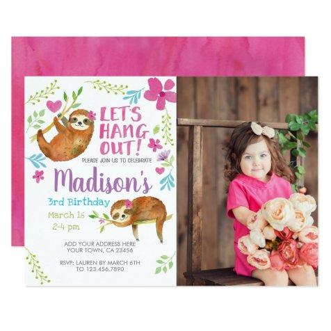 Sloth Birthday Invitation