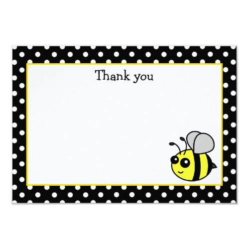 Small Bumble Bee Yellow Flat Thank You Note Cards