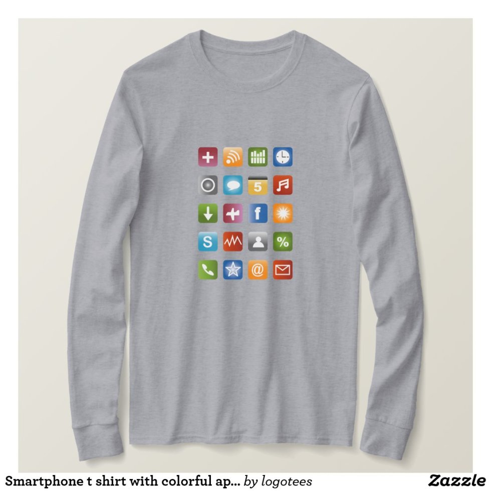 Smartphone t shirt with colorful app icons
