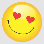 Smiling Cute Emoji Emoticon Love Heart Eyes Classic Round Sticker