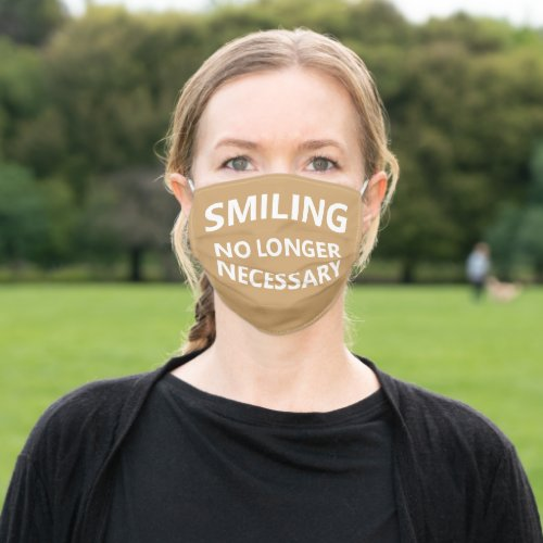 Smiling No Longer Necessary Beige Adult Cloth Face Mask