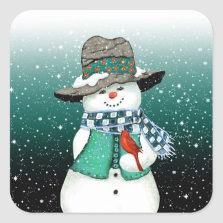 Smiling Snowman, Cardinal in a Snowstorm Stickers