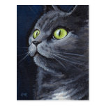 Smokey | Green Eyed Blue Grey Cat Portrait Postcard