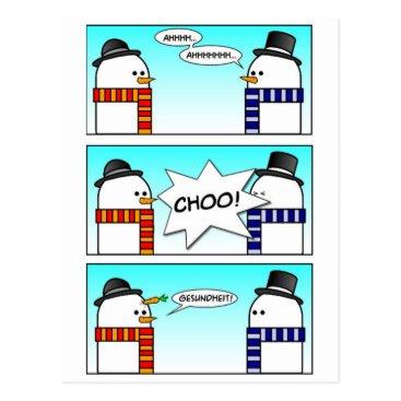 Sneezing Snowman Postcard