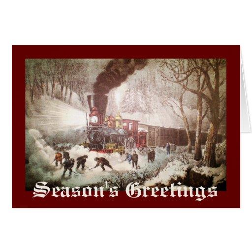 Snow Bound Train Christmas Card Zazzle