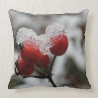 Snow-covered Rose Hip Throw Pillow