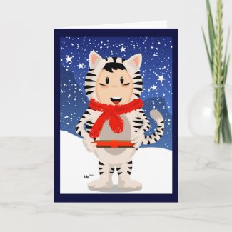Snow Tiger Christmas Card