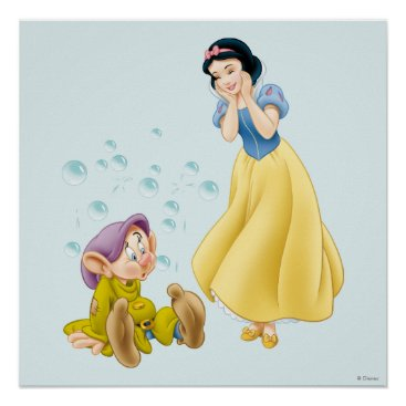 Snow White and Dopey Bubbles Poster