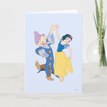 Snow White and Dopey dancing Card