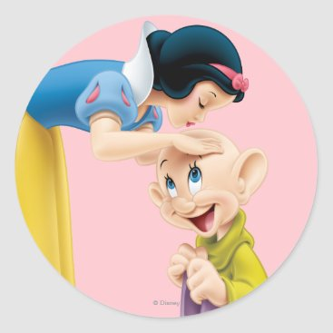 Snow White Kissing Dopey on the Head Classic Round Sticker