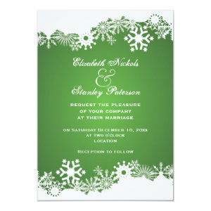 Snowflake Green White Winter Wedding Invitation Personalized Invites