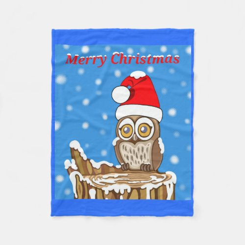 Snowflake the Owl at Christmas Fleece Blanket