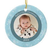 Snowflakes baby's first Christmas photo ornament ornament