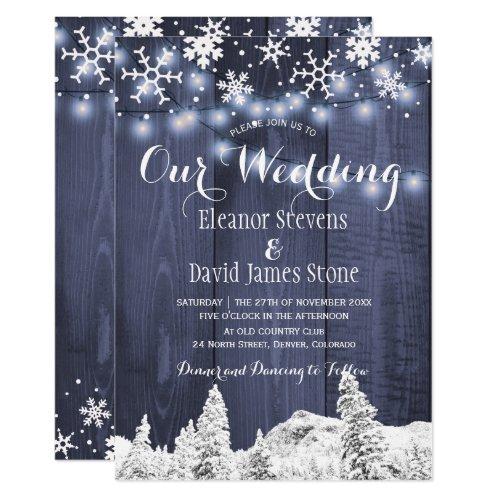 Snowflakes barn wood winter wonderland wedding invitation