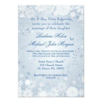 Snowflakes white silver blue Wedding Invitation