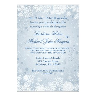 Snowflakes white silver blue Wedding Invitation