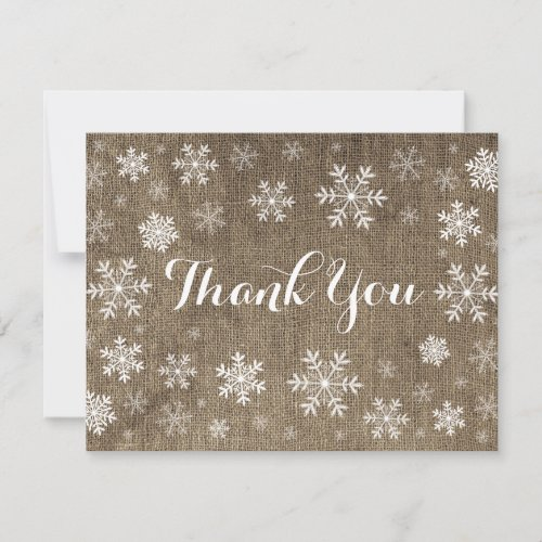 Snowflakes Winter Burlap Thank You Card