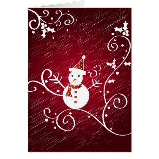 Snowman and holly - Card card