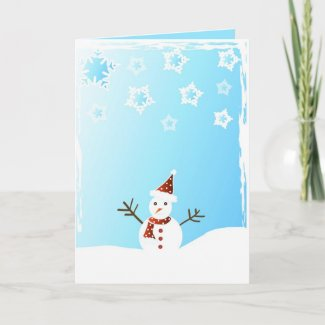 Snowman and snowflakes - Card card