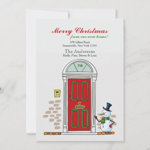 Snowman At The Door Holiday Moving Announcement