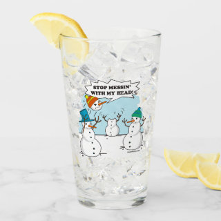 Snowman Cartoon Funny Drawing Glass