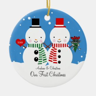 Snowman Couple Our First Christmas Ornament