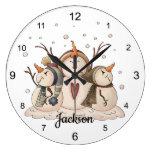 Snowman Farmhouse Country Primitive Rustic Large Clock