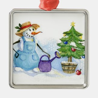 Snowman-gardener Christmas Tree Ornament