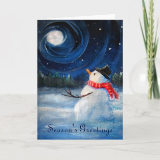 Snowman Gazes at Night Sky & Moon - Folk Painting Cards