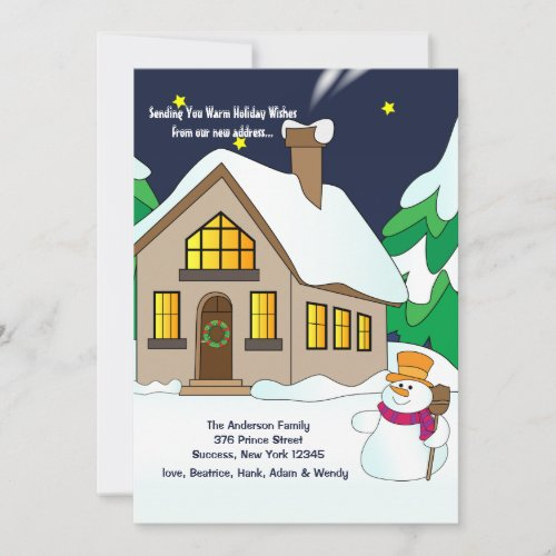 Snowman Holiday Moving Announcement