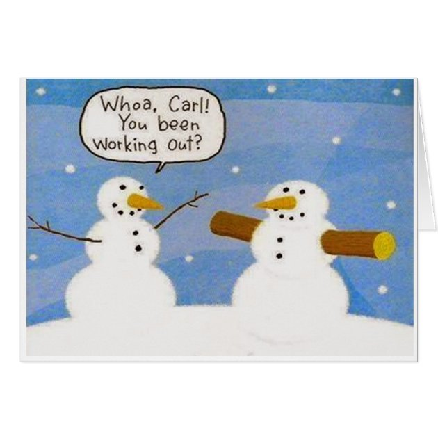 Snowman Working Out Logs Greeting Card Zazzle