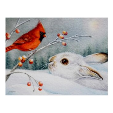 Snowshoe Rabbit & Red Cardinal Bird Watercolor Art Postcard