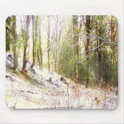 Snowy Sunlit Forest Glade #2 mousepad