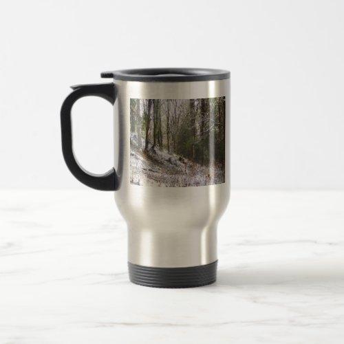 Snowy Sunlit Forest Glade mug