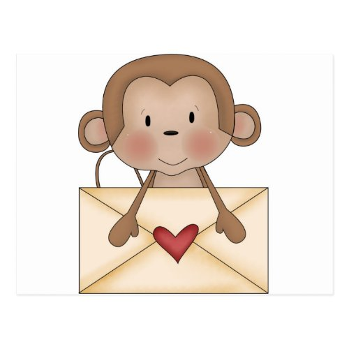 Sock monkey with love letter postcard