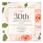Soft Blush Pink Floral Leaves 30th Birthday Women Invitation