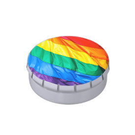 Solid Pride - Gay Pride Flag Closeup Jelly Belly Tin