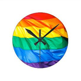 Solid Pride - Gay Pride Flag Closeup Round Clock