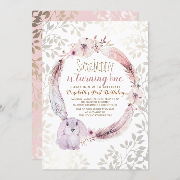 some bunny is turning one girl s first birthday invitation zazzle com