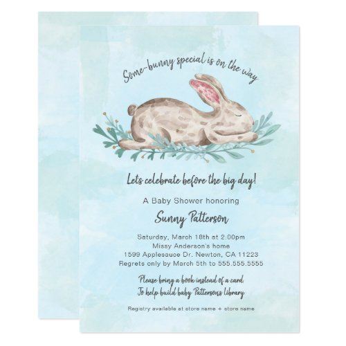 Some-bunny special book baby shower for boy invitation