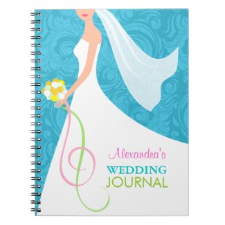 Something Blue Damask Wedding Planner Journal Spiral Note Book
